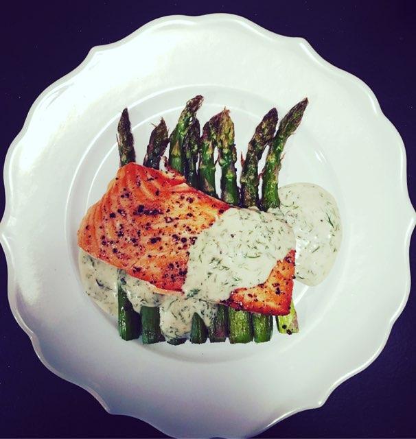 Salmon, dill, asparagus